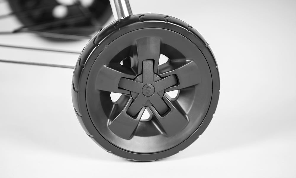 "Durable All-Weather 8"" Rubber Molded Wheels"